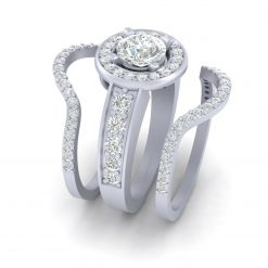 HALO MOISSANITE PROMISE RING SET