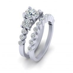 MOISSANITE 3 STONE WEDDING RING SET