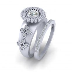 MOISSANITE FLORAL WEDDING RING SET