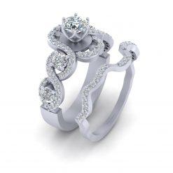 5 STONE WEDDING RING SET