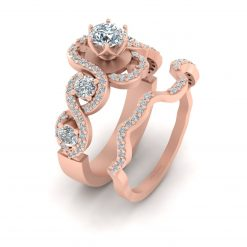 5 STONE DIAMOND ENGAGEMENT RING SET