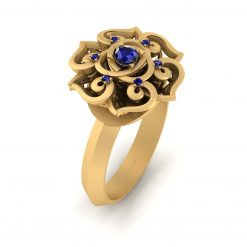 SAPPHIRE FLORAL WEDDING RING
