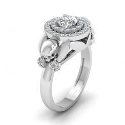 DOUBLE HALO MOISSANITE SKULL WEDDING RING