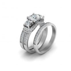 1.05CT MOISSANITE ENGAGEMENT RING SET