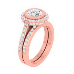 DIAMOND HALO ENGAGEMENT RING SET