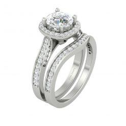 HALO DIAMOND ENGAGEMENT RING SET