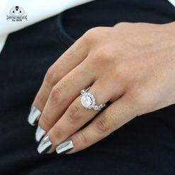 DIAMOND SKULL RING SILVER