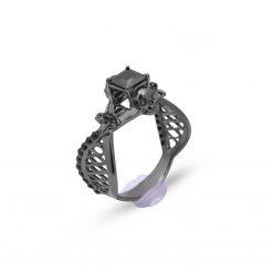 Mesh Flower Skull Engagement Ring