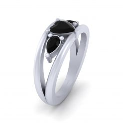 Heart Onyx Engagement Ring