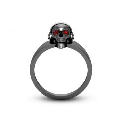MENS SKULL RING WITH HEADPHONES