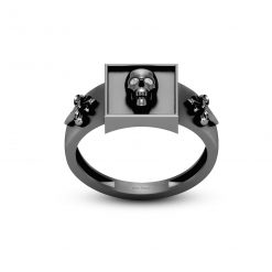 FRENCH FLOWER SKULL WEDDING RING