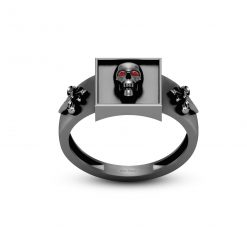ROYAL FRENCH FLOWER SKULL RING