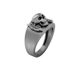 SILVER SKULL WEDDING BAND