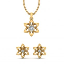 SOLITAIRE DIAMOND FLOWER PENDANT SET