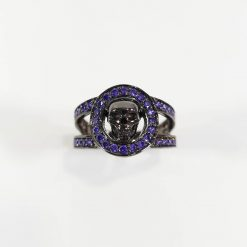 BLUE CZ HALO SKULL WEDDING BAND