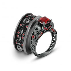RED GARNET SKULL COUPLE RINGS