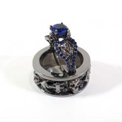BLUE CZ GOTHIC SKULL RINGS FOR COUPLE