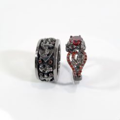 RED CZ GOTHIC WEDDING RINGS