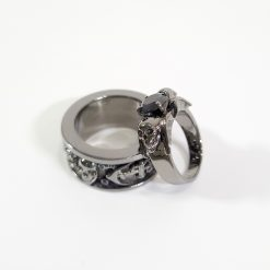 ARCHANGELS WINGS SKULL RING ANCHOR BAND SET