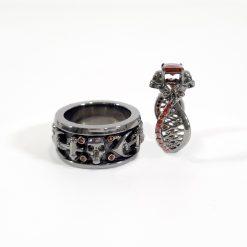 RED DIAMOND SKULL WEDDING RINGS