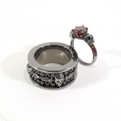 RED CZ MATCHING SKULL RINGS