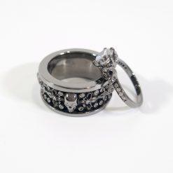 WHITE DIAMOND SKULL ENGAGEMENT RING FLEUR-DE-LIS BAND SET