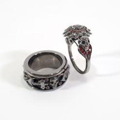 RED DIAMOND SKULL RINGS FOR COUPLE