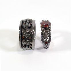 RED DIAMOND SKULL ENGAGEMENT RING SET