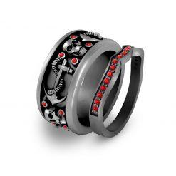 RED DIAMOND ANCHOR SKULL MATCHING COUPLE SET